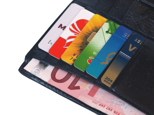 wallet with credit, debit and cash currency