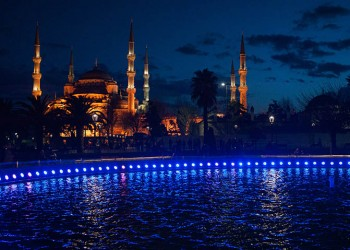 Blue Mosque at night. Istanbul, Turkey, Southeastern Europe.
