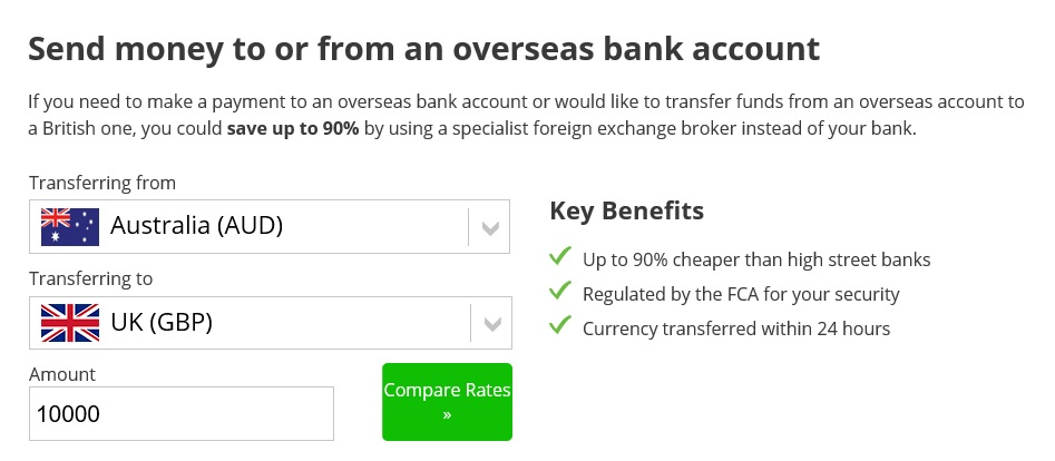 Uk Bank Account Compare International Money Transfers Infographic Guide Transfer Comparison Tool Showing 10000 Aud Into A