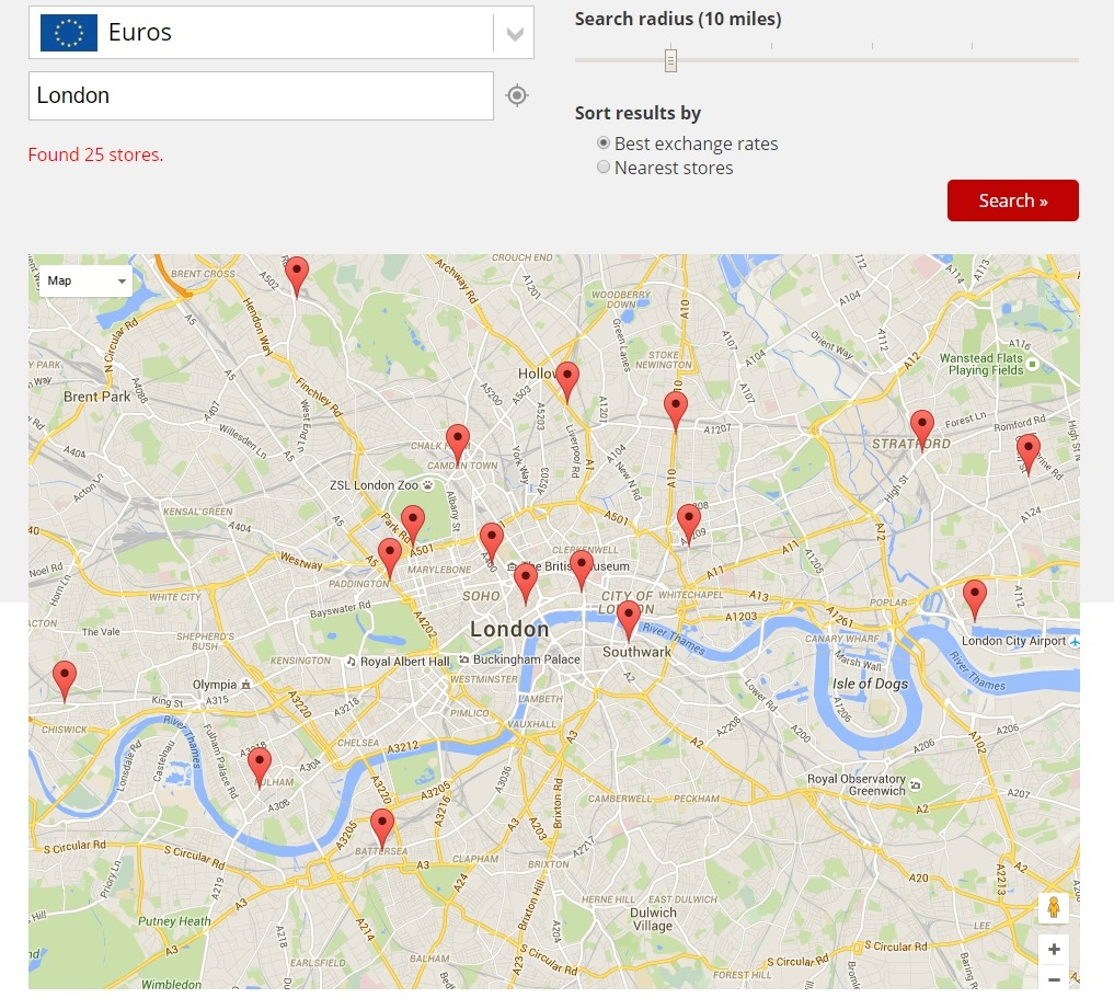 Click and Collect Currency in London using the Compare Holiday Money Search Tool