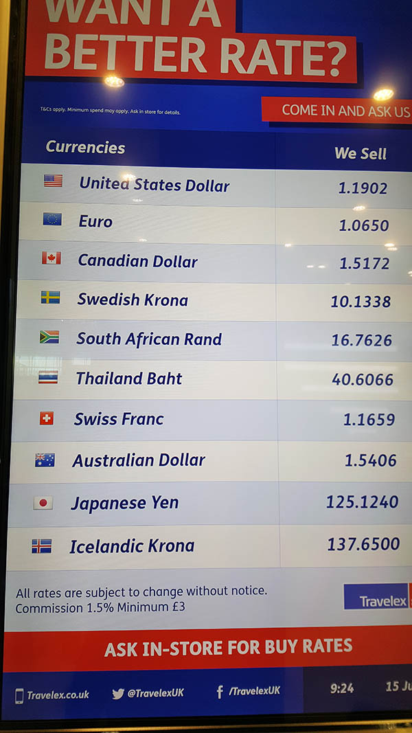 Airport Currency Exchange Rates Compared For You - Travelex Currency Exchange Rates at Heathrow Airport on the 15th July 2016