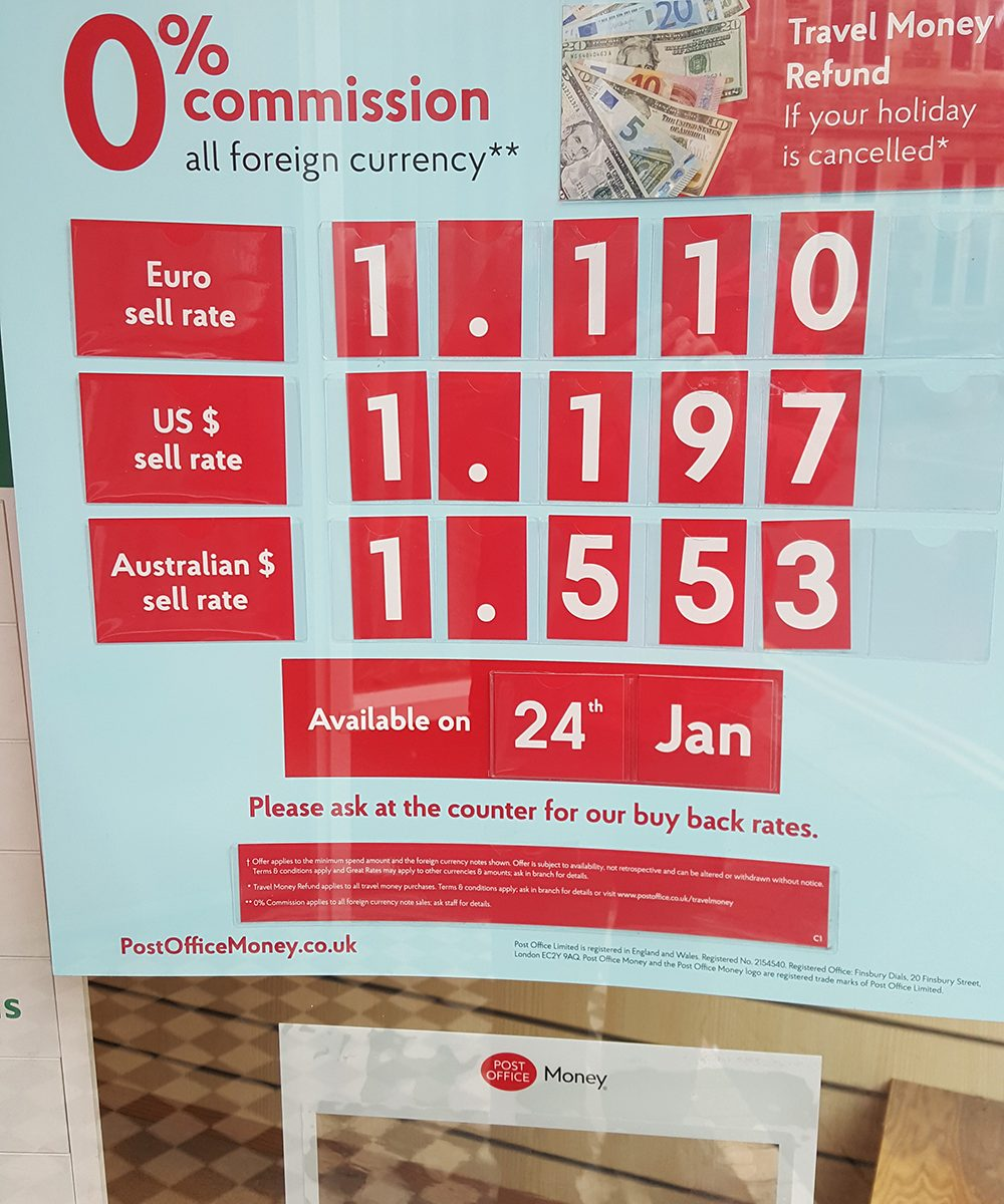 Noticeboard show the exchange rates in the Post Office Branch.
