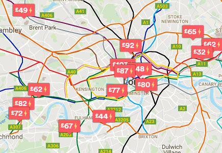 Map of London showing a selection of accommodation prices