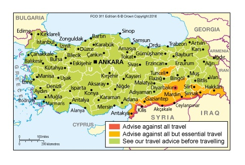 Map of Turkey showing the areas that is is safer to travel to.