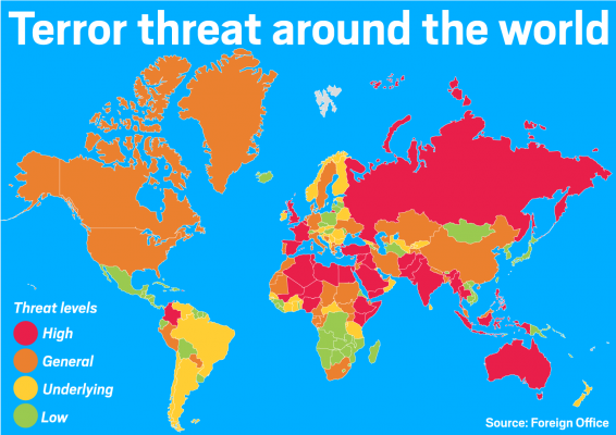 Map of the world showing the relative levels of terror threat