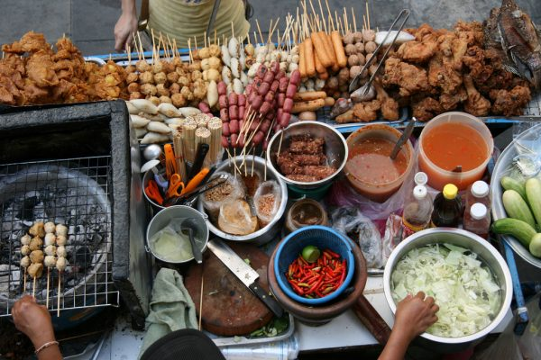A typical selection of street food seen in many countries