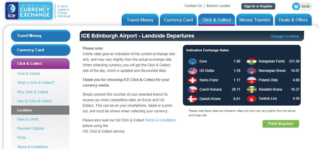 Edinburgh Airport Currency Exchange Rates - ICE Plc Sterling Euro Exchange Rate