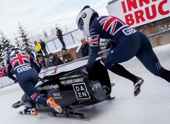 GB womens bobsleigh team action