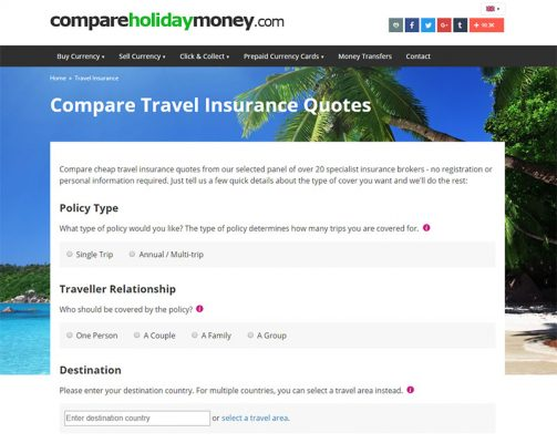 A screen shot of the travel insurance quote form on Compare Holiday Money.