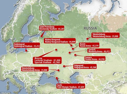 map of football world cup venues in Russia