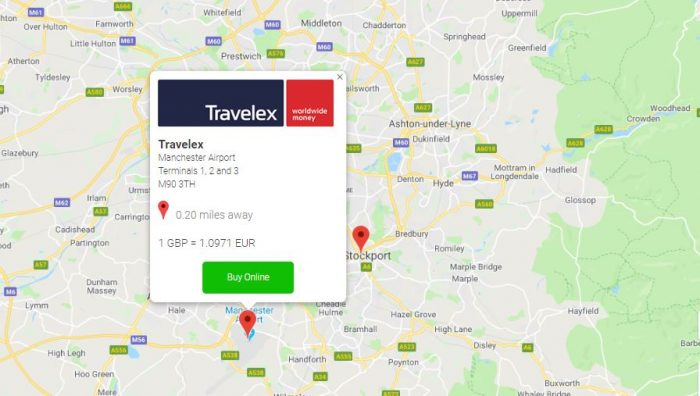 travel money rates at regional airports travelex on map image