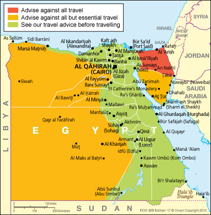 is it safe to visit egypt map image