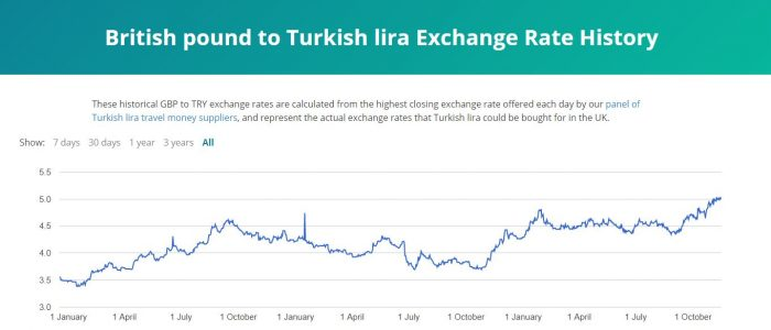 The rise and rise of Turkish lira exchange rate graph